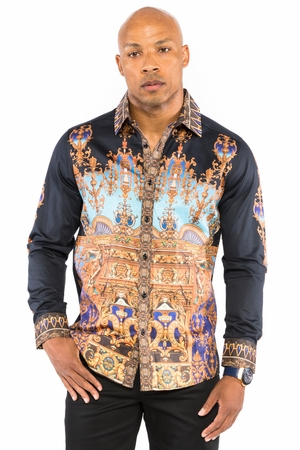 Prestige Mens Black Column Art Button Down Fashion Shirt COT235 - click to enlarge
