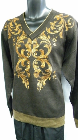 Prestige Mens Brown All Over Embroidered Sweater KTN-924 - click to enlarge