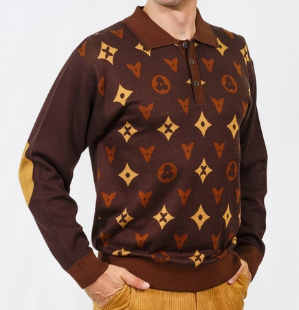 Prestige Mens Brown Designer Pattern Sweater KTN-670 - click to enlarge