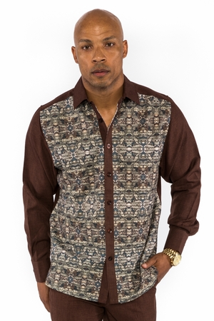 Prestige Mens Brown Floral Pattern Rayon Walking Suit Set PM553 - click to enlarge