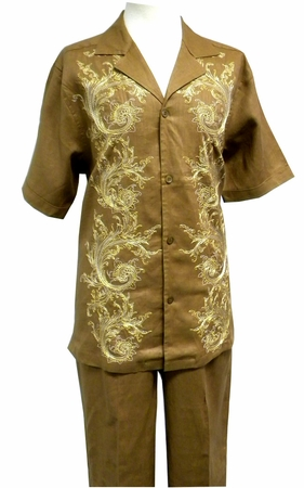 Prestige Mens Irish Linen Walking Suit Toffee Embroidered LUX776 - click to enlarge
