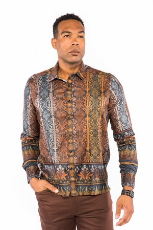 Prestige Mens Club Style Rust Button Down Shirt Fancy Print PR-448 - click to enlarge