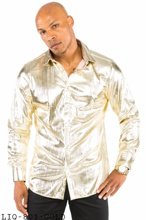 Prestige Mens Metallic Gold Stage Performer Shirt LIQ801 - click to enlarge