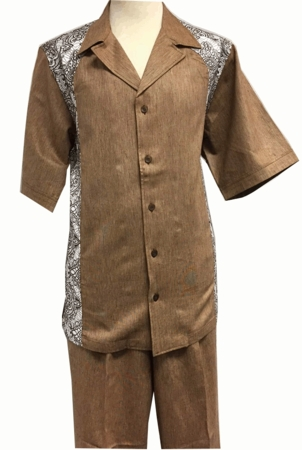 Prestige Mens Mocha Embroider Irish Linen Walking Suit CP614 - click to enlarge