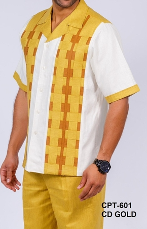 Prestige Gold Ivory Woven Box Irish Linen Outfit CPT601 - click to enlarge