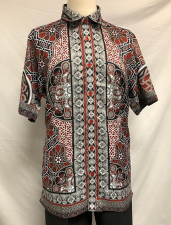 Prestige Trendy Button Down Shirt Mens Red Digital Print PR-511 - click to enlarge