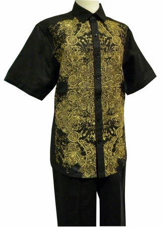 Prestige Mens Irish Linen Walking Suit Black Embroidered LUX770 - click to enlarge
