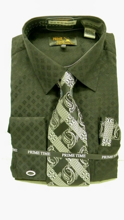 Prime Time Black Fancy French Cuff Dress Shirt Tie Set FC093  - click to enlarge