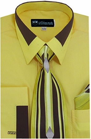 Milano Moda Gold Fashion French Cuff Shirt Tie Set SG34 - click to enlarge