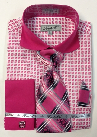Fratello Mens Fuchsia Square Pattern French Cuff Shirt Set FRV4128P2 - click to enlarge