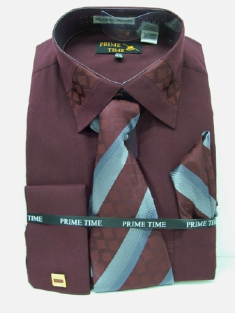 Prime Time Mens Burgundy French Cuff Dress Shirt FC47  - click to enlarge