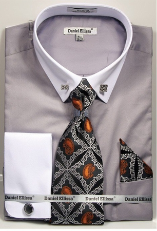 Daniel Ellissa Mens Gray White Pointed Collar Bar Dress Shirt Tie Combo DS3790P2 - click to enlarge