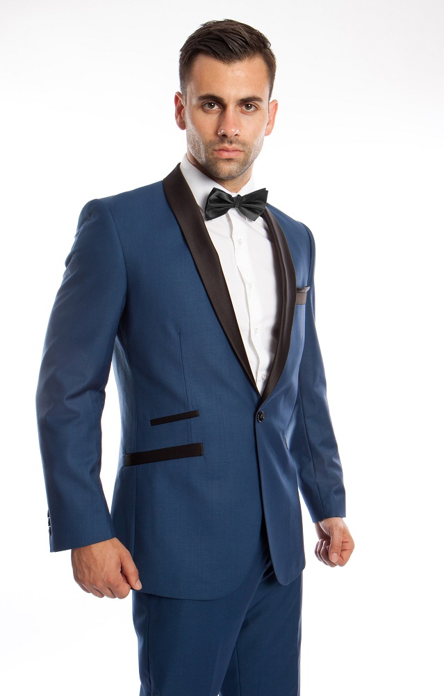 Prom Suit Slim Fit Tuxedo Mens Blue Black 2 Piece Tazio M224S