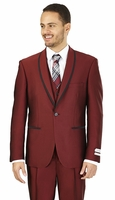 Prom Suit Teenagers Slim Fit Mens Burgundy Lorenzo Bruno FS61V