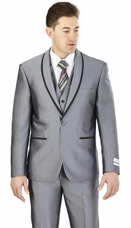 Prom Suit Teenagers Slim Fit Mens Gray Lorenzo Bruno FS61V - click to enlarge