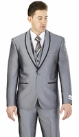 Prom Suit Teenagers Slim Fit Mens Gray Lorenzo Bruno FS61V