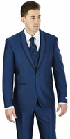 Prom Suit Teenagers Slim Fit Mens Monaco Blue Lorenzo Bruno FS61V