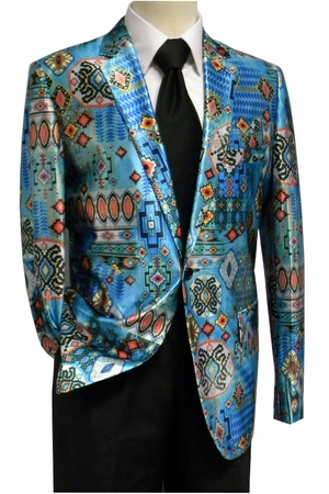 Unique Men's Satin Fashion Blazer Turquoise Aztec Pattern - click to enlarge