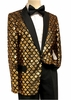 Pronti Mens Gold Black Sequin Blazer Entertainer B6287