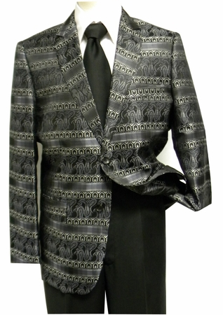 Pronti Mens Black and Gray Paisley Fancy Fashion Blazer - click to enlarge