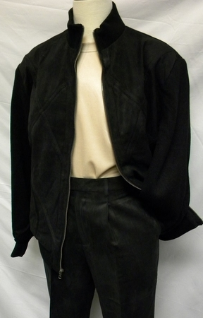 Pronti Mens Black Perforated Micro Suede Leisure Suit 6058 - click to enlarge