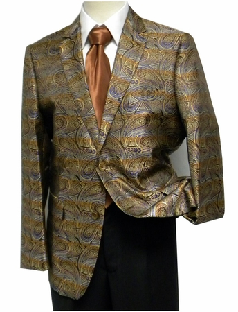 Pronti Mens Bronze Multi Paisley Fancy Entertainer Blazer - click to enlarge