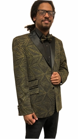 Men's Stylish Blazer Black Gold Vector Entertainer After Midnight 8018-924 IS - click to enlarge