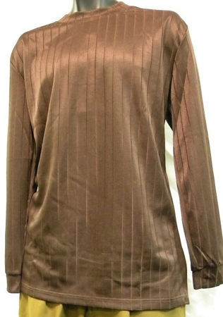 Pronti Mens Brown Shadow Stripe Long Sleeve Mock Neck Shirt 1239 - click to enlarge