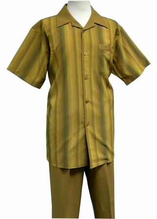 Pronti Mustard Stripe Front Short Sleeve Mens Walking Suits SP6149S-1 - click to enlarge