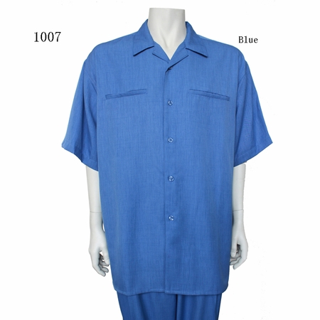 Milano Moda Short Sleeve 2 Piece Casual Set Blue 1007 - click to enlarge