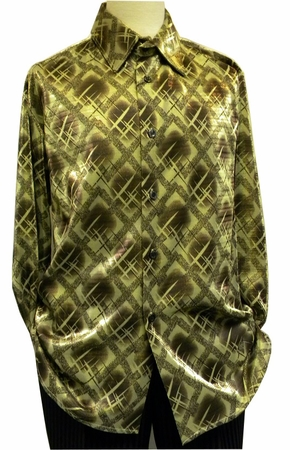 Pronti Mens Gold Lurex Pattern Long Sleeve Casual Shirt 6096 - click to enlarge