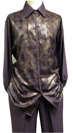 Mens Dress Outfits Purple Heather Foil Pattern Pronti SP6208 - click to enlarge