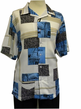 Gochu Men's Blue White Pattern Casual Short Sleeve Shirt 2007 - click to enlarge