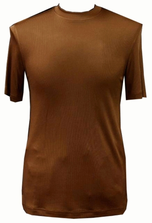 Pronti Shiny Short Sleeve Mock Neck Luggage Brown 1564 - click to enlarge