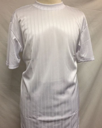 Pronti Shiny Short Sleeve Mock Neck White Stripe 1239 - click to enlarge