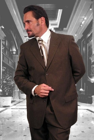 Mens Italian Wool Suits Brown 3 Button Super 150s Alberto 3BVP-1 2pc - click to enlarge