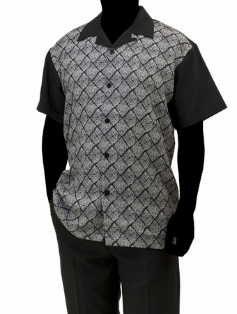 Robert Lewis Casual Walking Suit Mens Black Grey Pattern Set WS756 - click to enlarge