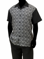 Robert Lewis Casual Walking Suit Mens Black Grey Pattern Set WS756