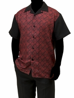 Robert Lewis Casual Walking Suit Mens Black Red Pattern Set WS756