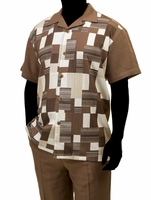 Robert Lewis Casual Walking Suit Mens Brown Block Pattern WS772