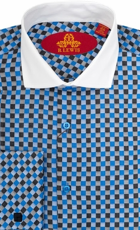 Robert Lewis Mens Blue Check French Cuff Dress Shirts RL224 - click to enlarge