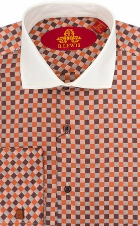 Robert Lewis Mens Orange Check French Cuff Dress Shirts RL224 - click to enlarge