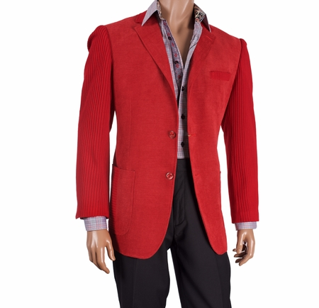 Inserch Mens Red Knit Sleeve Chenille Blazer 506-30 Size Large Final Sale - click to enlarge