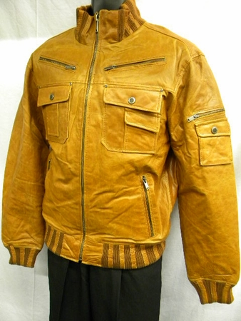 Robert Phillipe Mens Tan High Collar  Slim Fit Leather Jacket MJ790 - click to enlarge