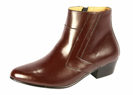 Ditalo Mens Brown Leather Cuban Heel Boots 5631 - click to enlarge