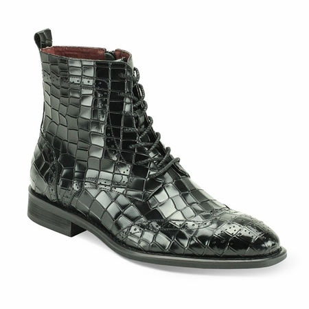 Giovanni Mens Black Gator Print Leather Dress Boots Corbin - click to enlarge