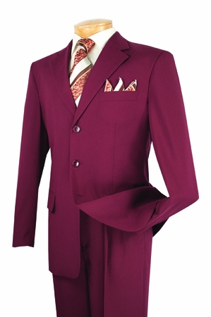 Ron Burgundy Suit Men's 3 Button 2 Piece Pleated Pants 3PP  - click to enlarge