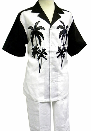 Prestige Mens Irish Linen Walking Suit White Palm Design LUX778 - click to enlarge