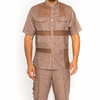 Prestige Irish Linen Shirt Pants Set Mens Brown Mesh Front LUX-860