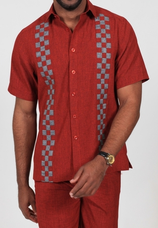 Royal Prestige Mens Red Woven Checker Rayon Walking Suit PM-692 - click to enlarge
